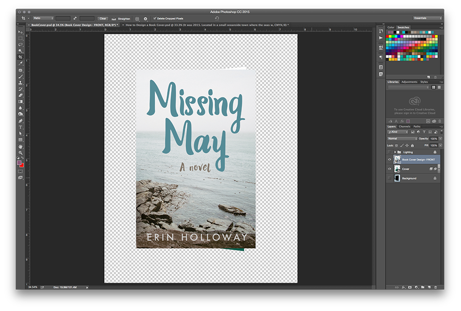 How to Make a Book Mockup in Photoshop - Place your cover artwork and resize