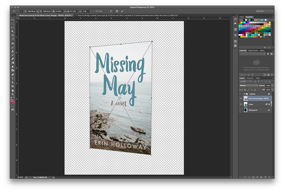 How to Make a Book Mockup in Photoshop - Adjust your book cover to match the template
