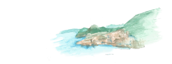 Quick watercolor rendering when studying the Dubrovnik coastline.