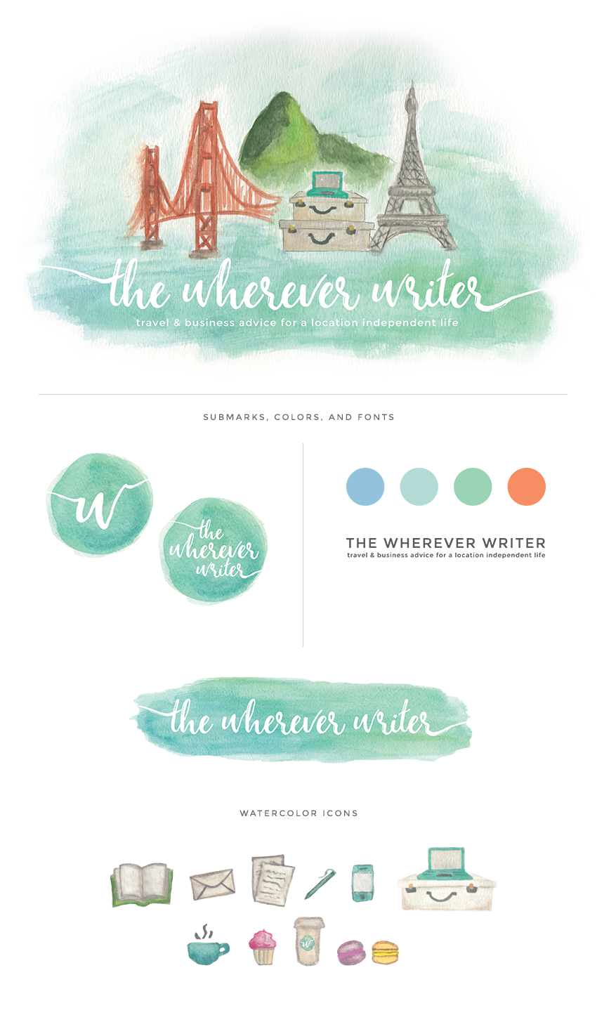 The Wherever Writer Brand Design, by Melody of Finicky Designs, Colorado Springs, CO