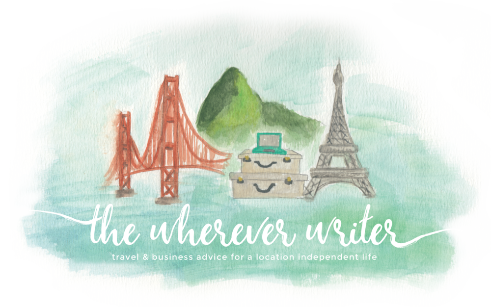 The Wherever Writer, brand for travel blogger, by Finicky Designs