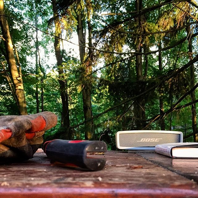 When a #bose #speaker makes your evening it's hard not to think about it. The #beer is choice and the #music is on point. #cheers to #Saturday. Have a good one out there... #sundown #saturdaynight #cookout #craftbeer #friends #pizza #woodfiredpizza #bosesoundlink #magichour #woods #adventureisoutthere