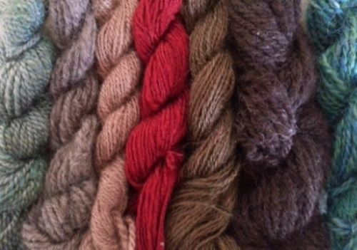 Luxury fiber sample skeins -everything from silk, suri, and yak to camel, cashmere and quivut.