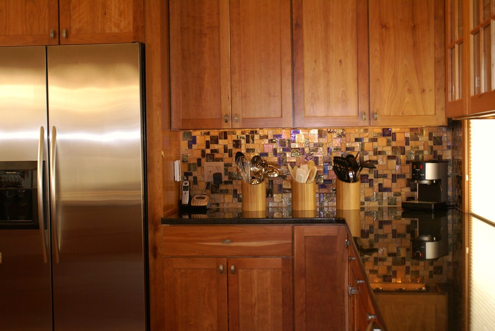 Kitchen's New Recycled Glass Backsplash