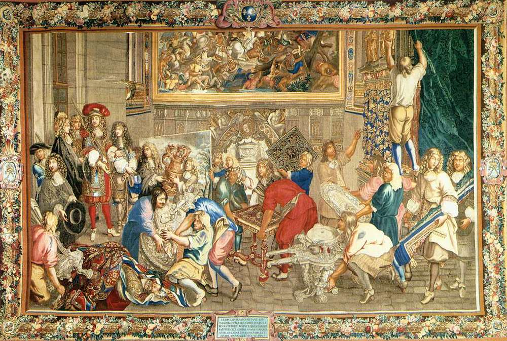 Tapestry illustrating Louis XlV visting the Gobelins factory