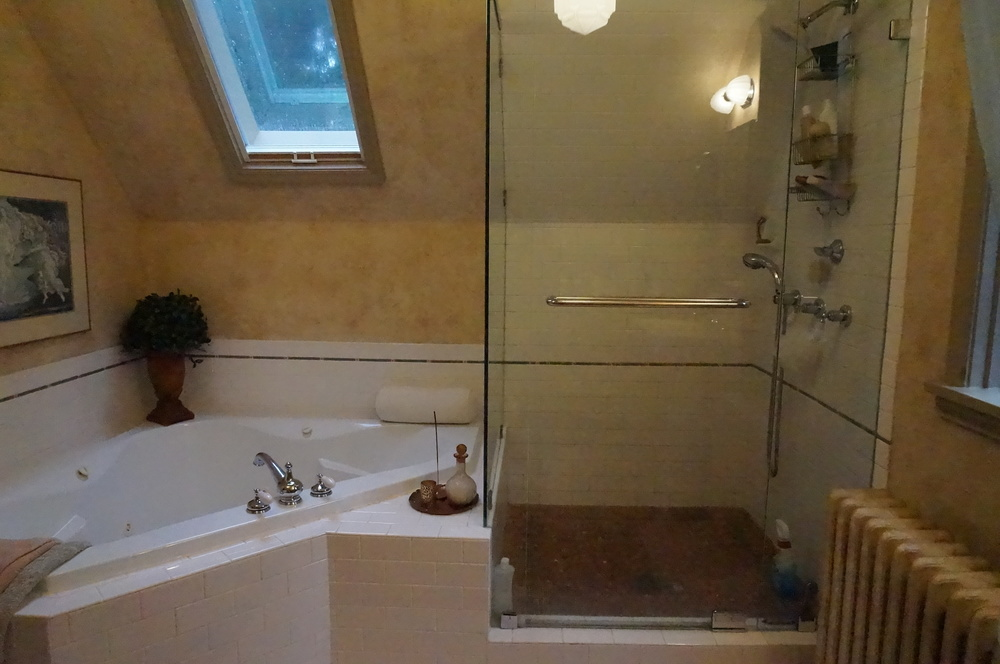 And time for the huge jetted tub and glass shower enclosure to go!