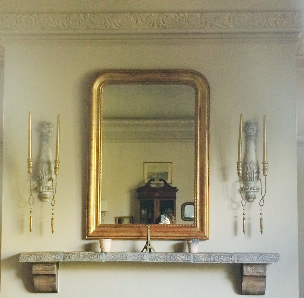 Antique Louis Phillipe mirror with new Aidan Gray candle sconces