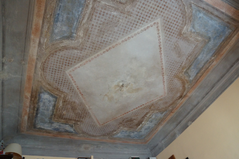 A frescoed ceiling at Laura's