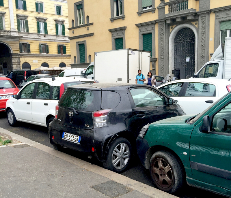 Creative parking in Rome!  Ha!