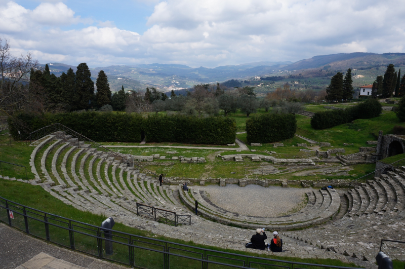 One Sunday, on a whim, we jumped a city bus and climbed the hill north of Florence to Fiesole.  This is what's left of a Roman amphitheater.