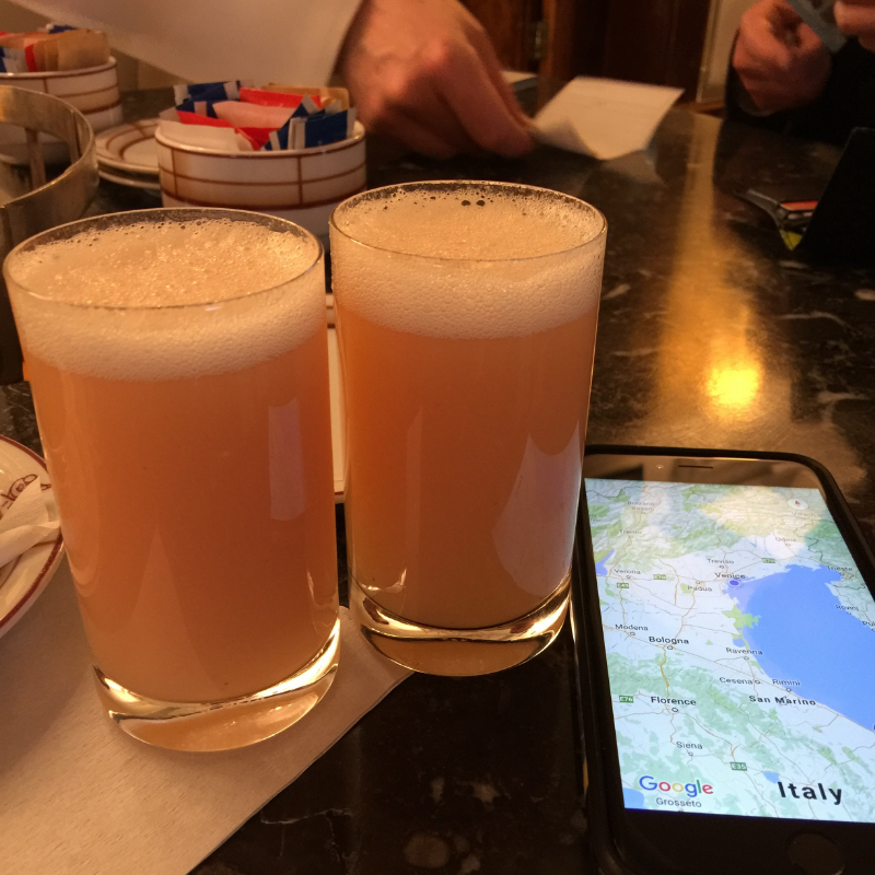 Of course, while in Venice, we HAD to have a real Bellini at  Harry's Bar.   The room was startlingly small and unpretentious - and the glasses were surprising - but it was an experience.