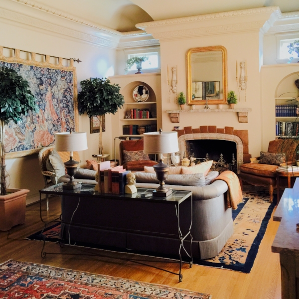 This room's decor WAS collected over time: inherited pieces, antiques added over the years, antique reproductions that are new, Paris flea market finds.