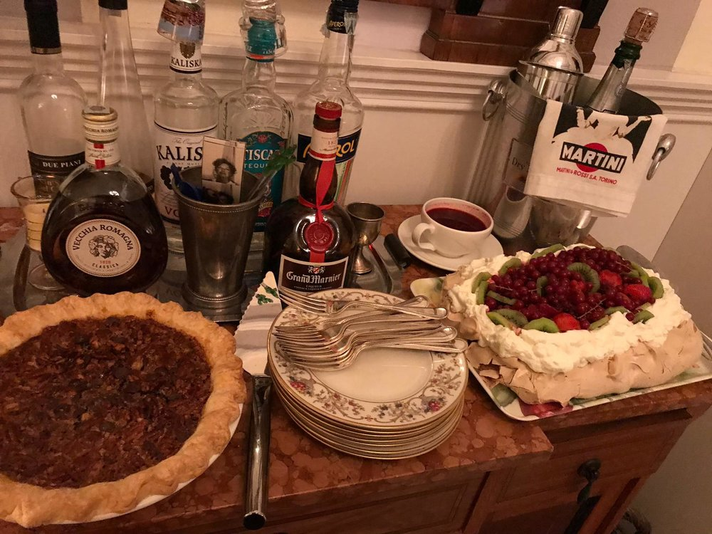 Dessert: Pecan chocolate pie, which I made, and a divine Pavlova prepared by our guest, Ellen.