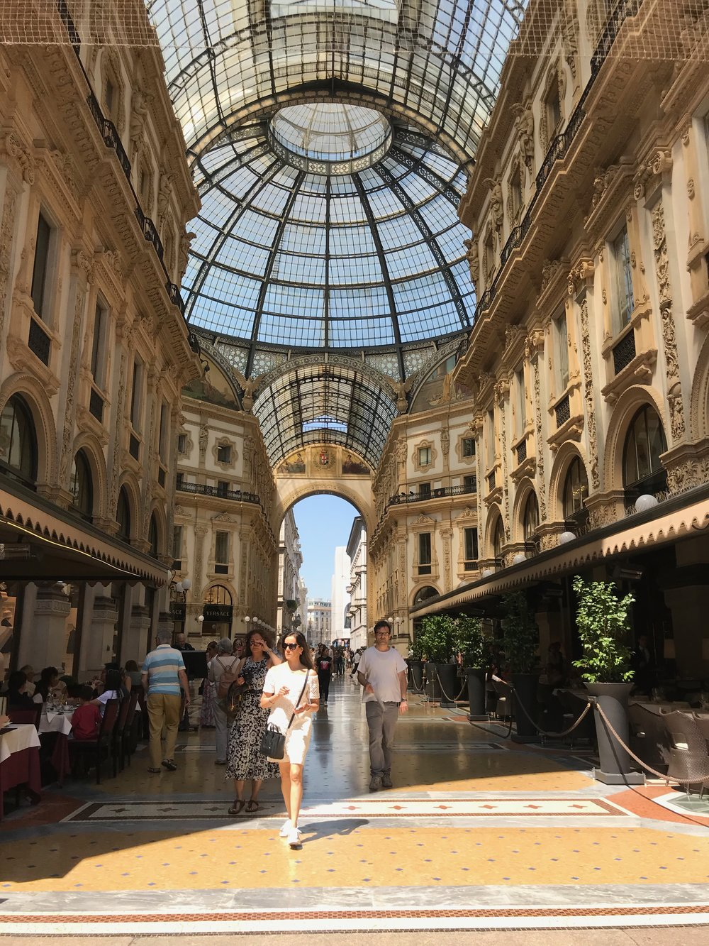 One day in late June, we spent a few hours in Milan and had lunch in the    Vittorio Emanuele mall   . It was touristy and pricey, yes, but so beautiful!