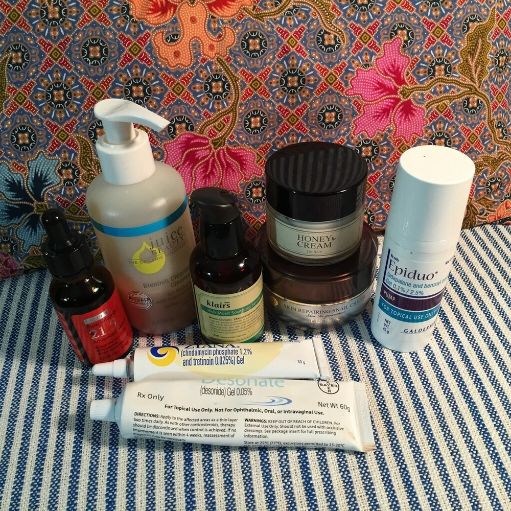 A sample of some skincare products that may work well for those with adult onset acne. As always, we recommend consulting a dermatologist.