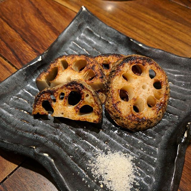 Best grilled lotus root I've ever had in my life. It was so smokey from the grill and a nice thick cut. Best little detail? It was paired with truffle salt. It was so good I ordered another plate. #yokohama #japan #foodie