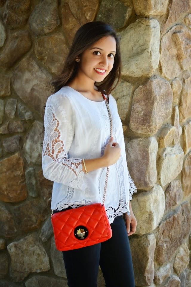 Ruche Blouse, H&M Pants, Kate Spade purse