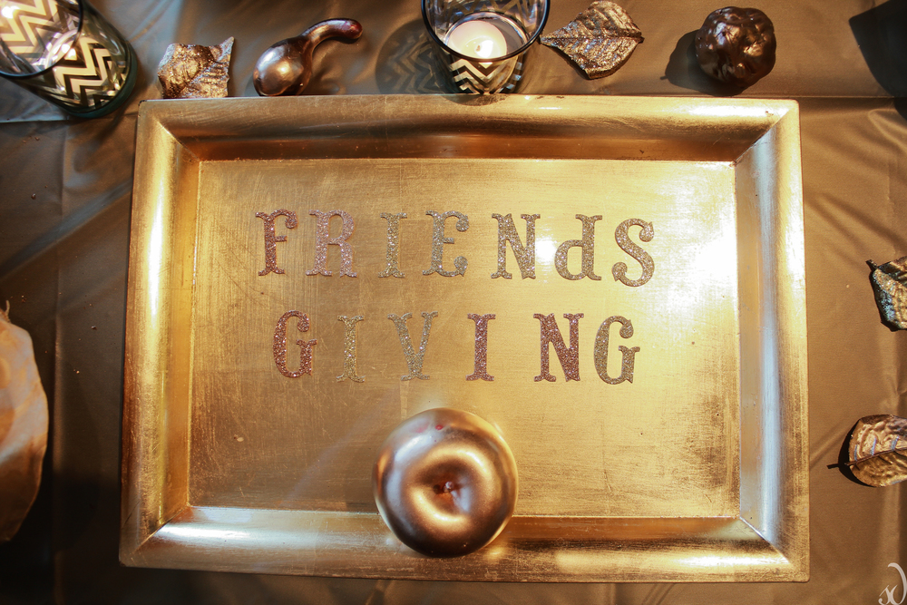 Gold Friendsgiving table tray