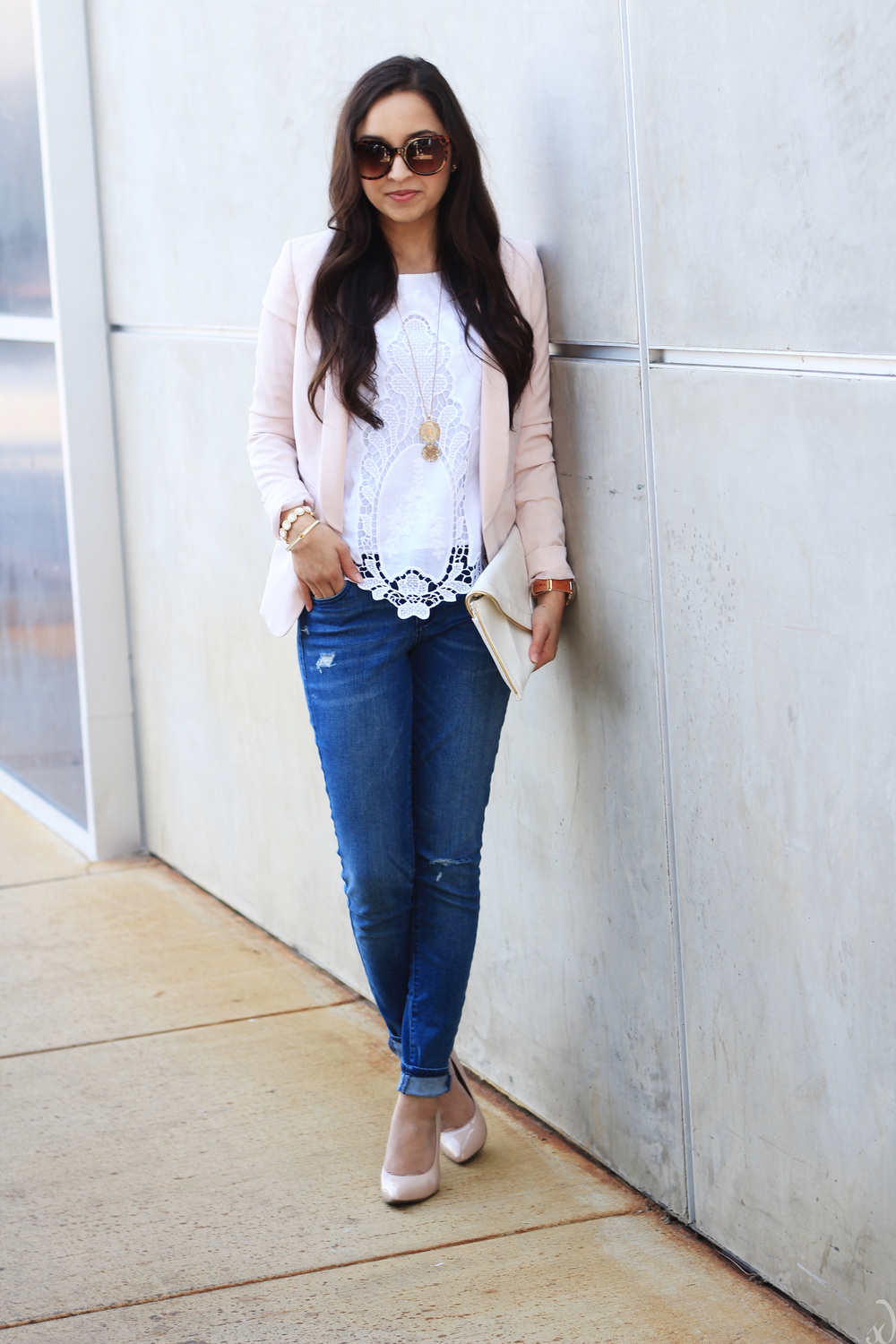 lace blouse, distressed denim, blush jacket, nude heels