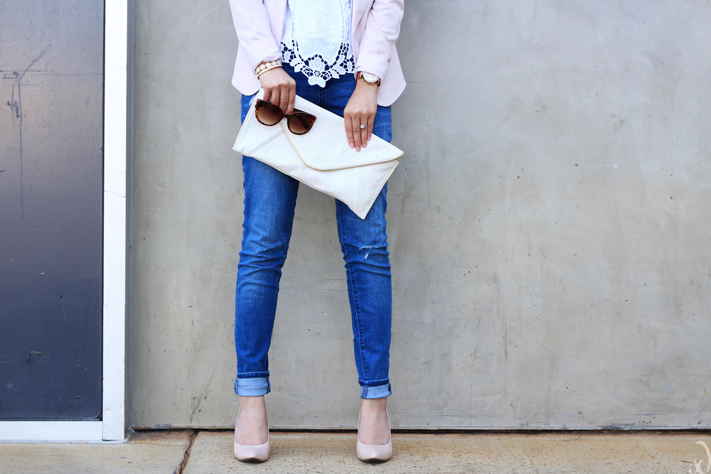 nude heels, ripped denim, white and blush