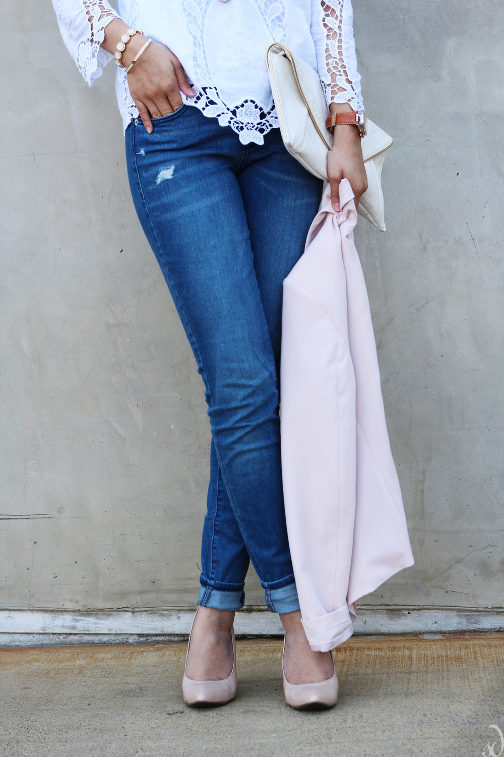 boyfriend denim, light pink jacket, nude heels, blush, white