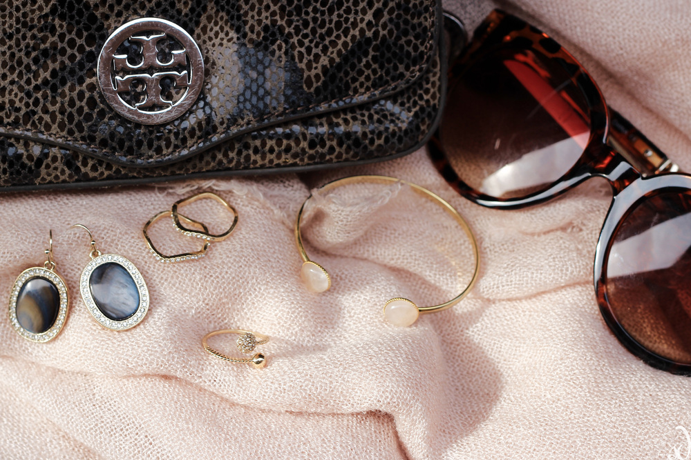 pink and gray, accessories, jewelry, dainty rings, earrings, tory burch, bracelet cuff