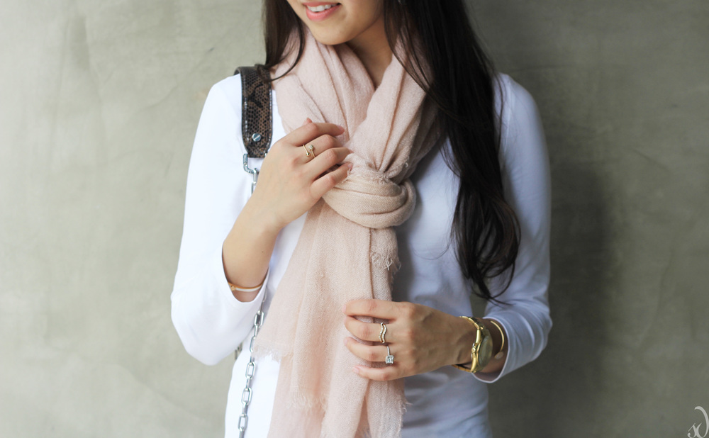 light pink, scarf, transitional, lightweight, basics, pink white and grey, dainty rings