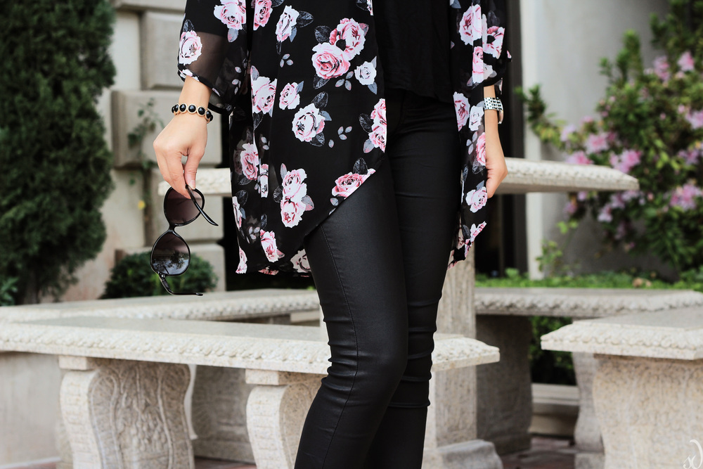 black, coated denim, leather pants, floral, kimono, pointed pumps, pink purse