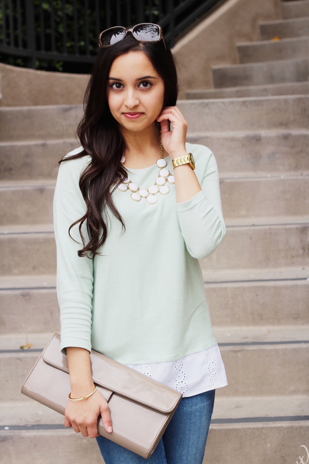 mint, taupe, beige, white, statement necklace, old navy denim, ann taylor, eyelet detail, spring style, neutrals, kate spade