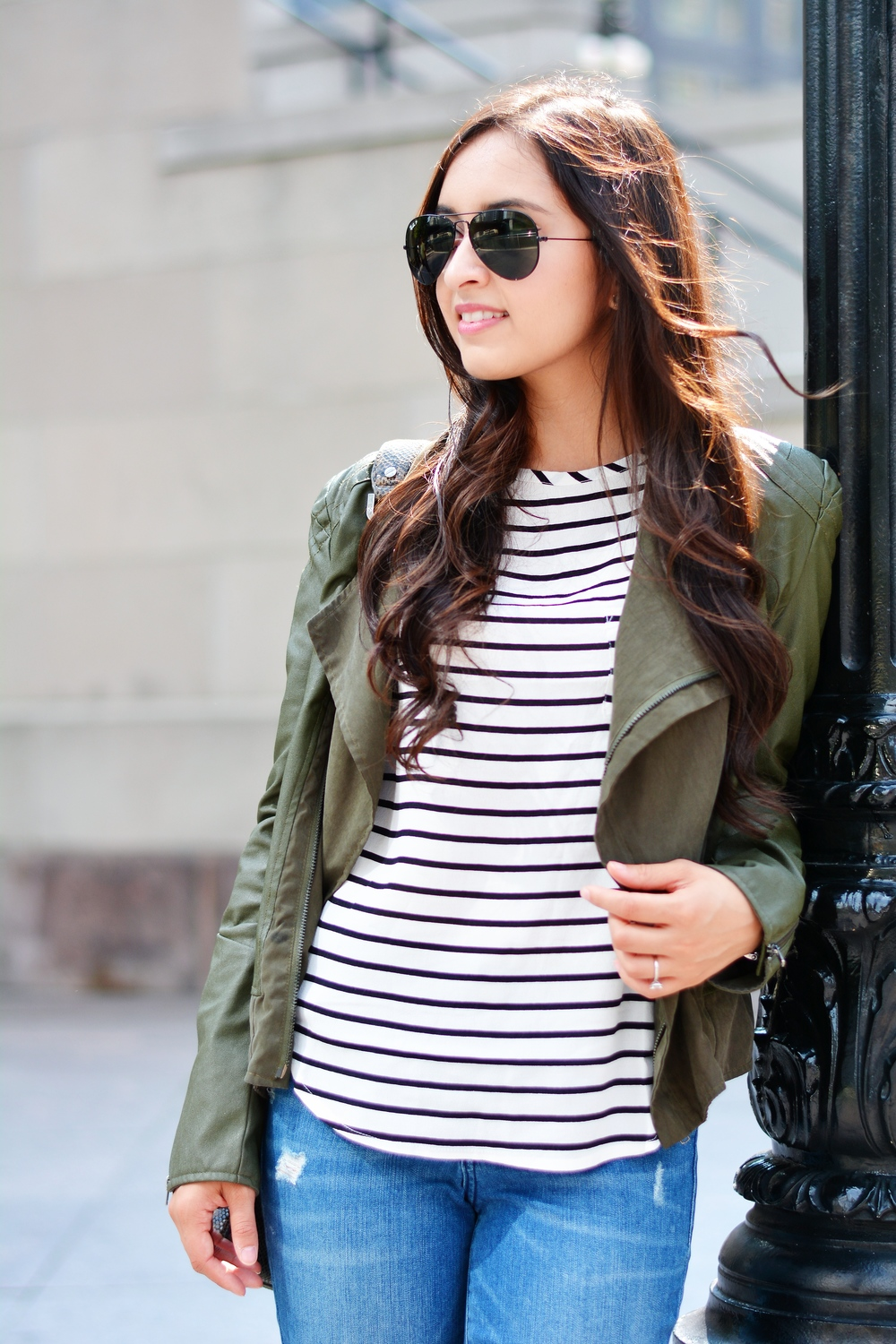 stripe tee, capsule wardrobe, olive green jacket, distressed denim, effortless style, blush pink, valentino dupe, designer flats, nordstrom, tory burch, old navy, h&m, basics