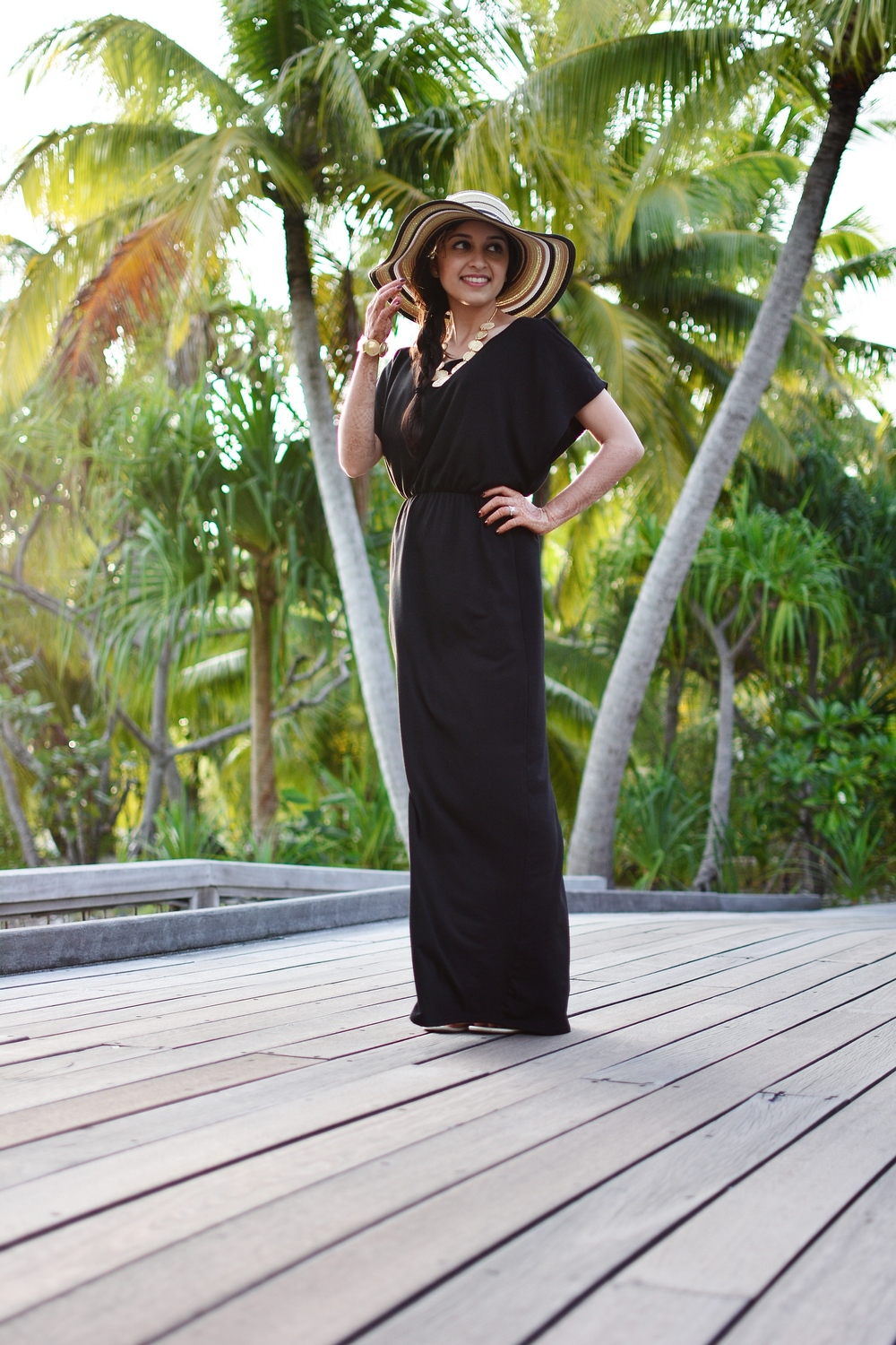 black maxi dress summer weather bora bora le meridian tory burch ann taylor floppy hat stripes target sandals modest fashion four seasons bora bora