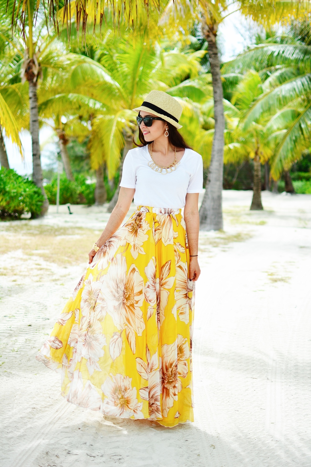 Yellow Floral Maxi Skirt