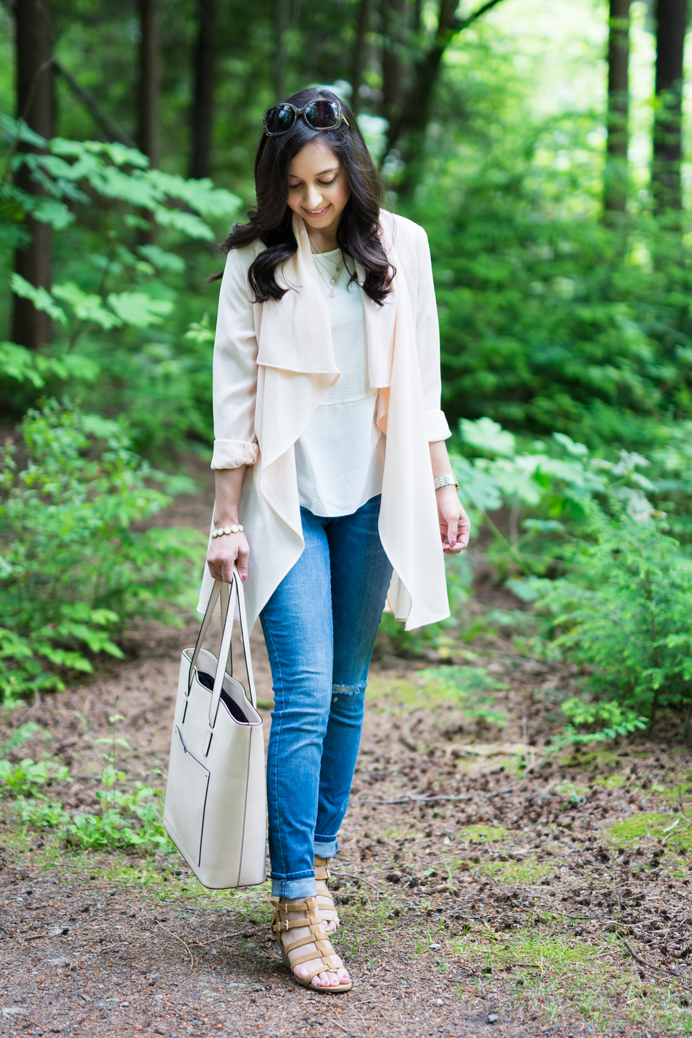 Vancouver vacation, blush pink drape trench, summer style, travel style, blush tote, distressed denim, monochromatic blush style, kate spade, nordstrom rack, zara, old navy, Forever 21, Michele, wedge sandals