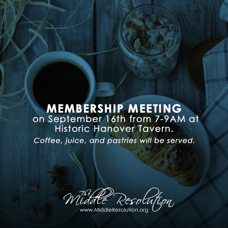 Our next Membership Meeting will be held on September 16th from 7-9 am at the Historic Hanover Tavern. We hope you can join us!