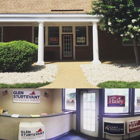 Moved into new campaign headquarters at 1520 Huguenot Rd, Suite 116, Midlothian VA 23113