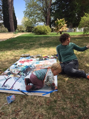 Anne-Marie and camille painting at lanyon historic homestead, canberra 2017