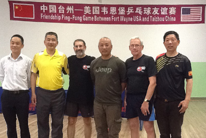 A delegation from Fort Wayne travels to Linhai for a friendship game of table tennis.