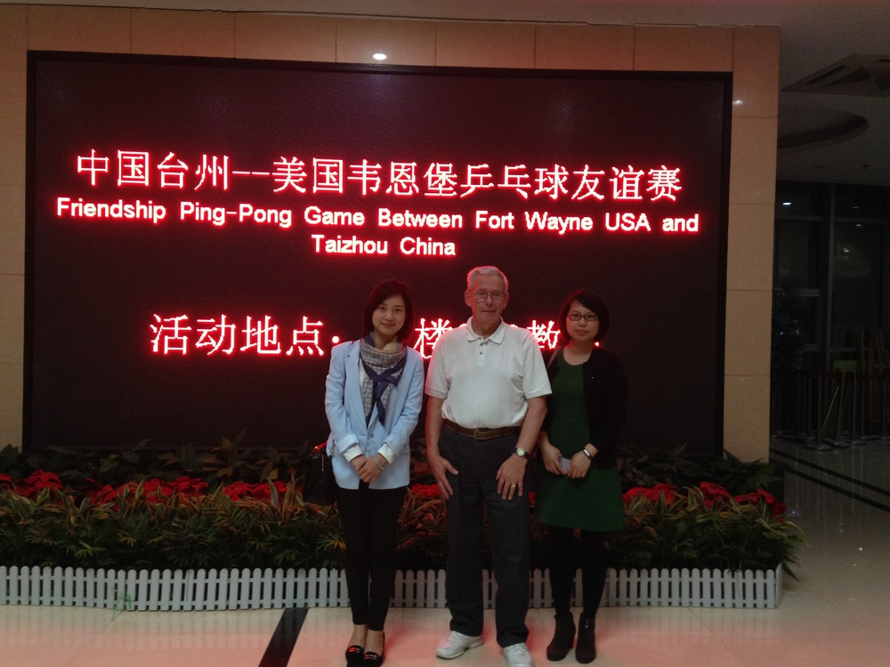 Ned Lee with Betty Wong and Sharon Chan of the Taizhou Foreign Affairs Office.