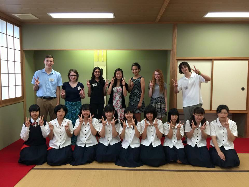 Exchange students from Fort Wayne with their class in Takaoka, Japan.