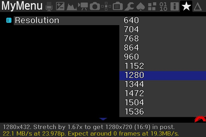 This is the resolution I was shooting at. To make it 1280 x 720, I had to stretch it vertically 167% in post.