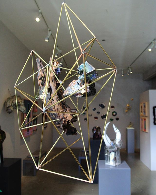 Bismuth work catching rays at in the window @abramsclaghorn #art #Science #Bismuth #Chemistry #Crystals #Experiment #CrystalChemistry  #Science #Studio #ArtStudio #CaliforniaArtist #SanFrancisco #arte #geometry #geometric #geometricart #sculpture #woodsculpture #abstract #abstractart
