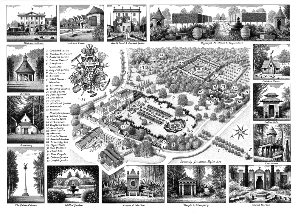 Jonathan Myles-Lea was commissioned to create this meticulous map of the gardens at Highgrove in 2009. The drawing has been used in various publications, including the official visitor guide to the property as well as on the cover of Prince Charles's latest book.  Available from the Highgrove website here.