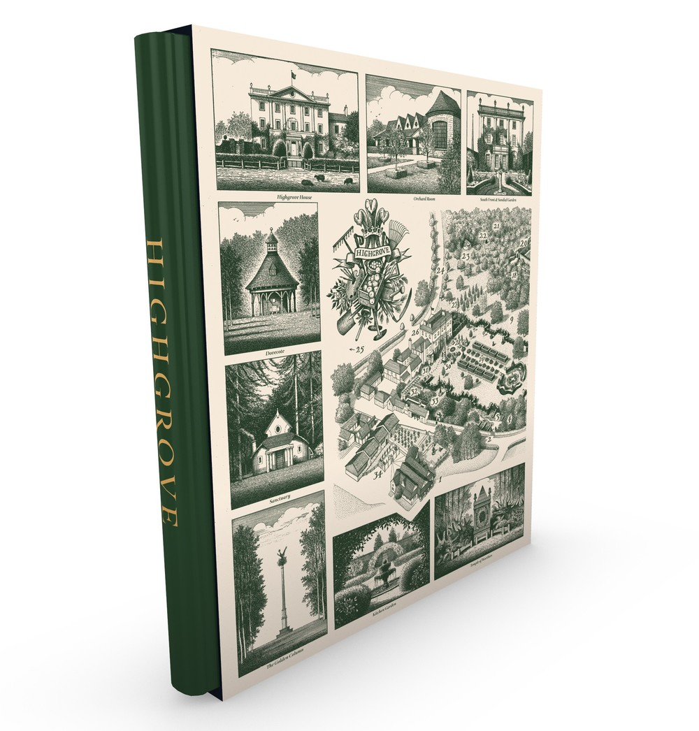 Jonathan's map of Highgrove appears on the cover of a limited-edition, leather-bound book written by Prince Charles - Available here from Highgrove Shop website priced £500.