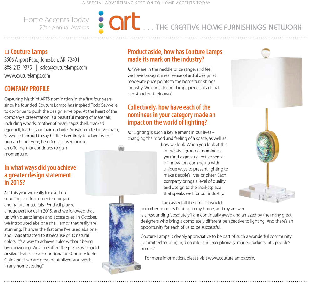 December 2015 Arts Awards Advertorial:  Home Accents Today Magazine