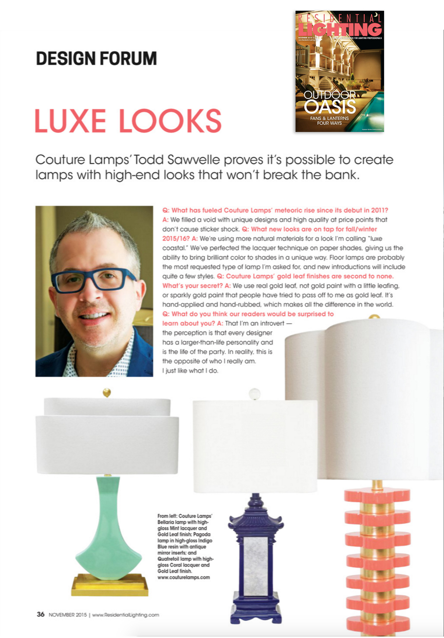 Residential Lighting Magazine:  November 2015