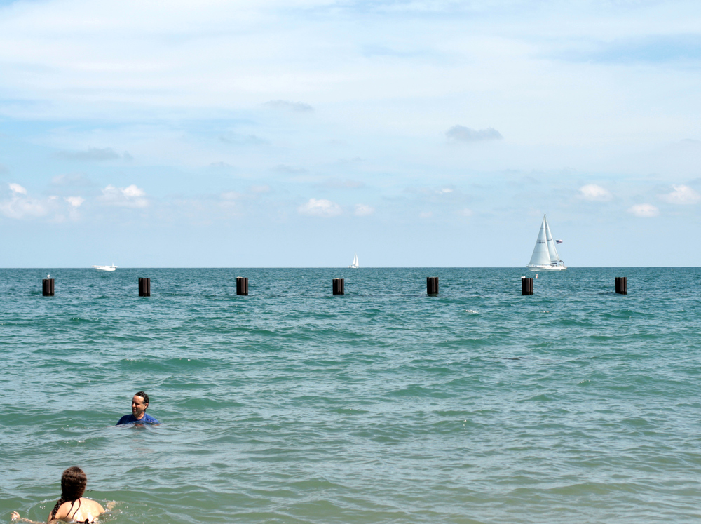 Michael and Olivia swimming in Lake Michigan