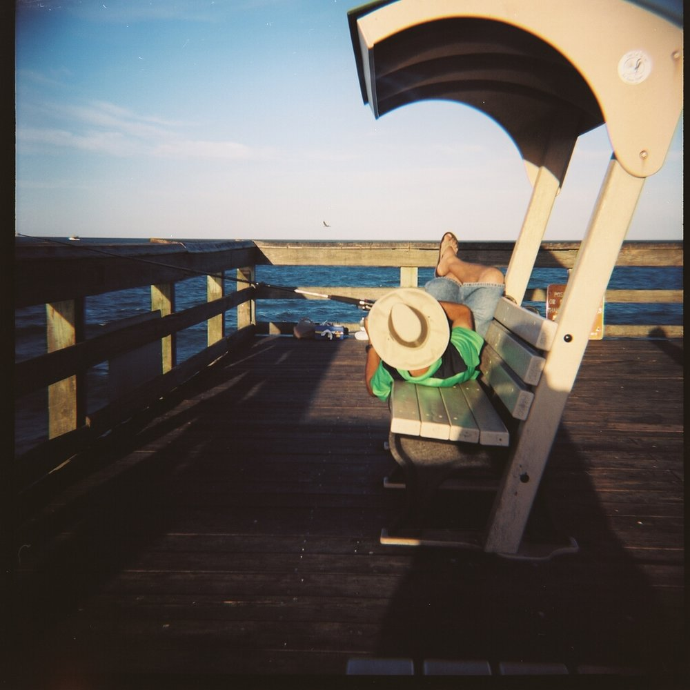 Lazy Fisherman, St. John's Pier. Kodak Portra 100.