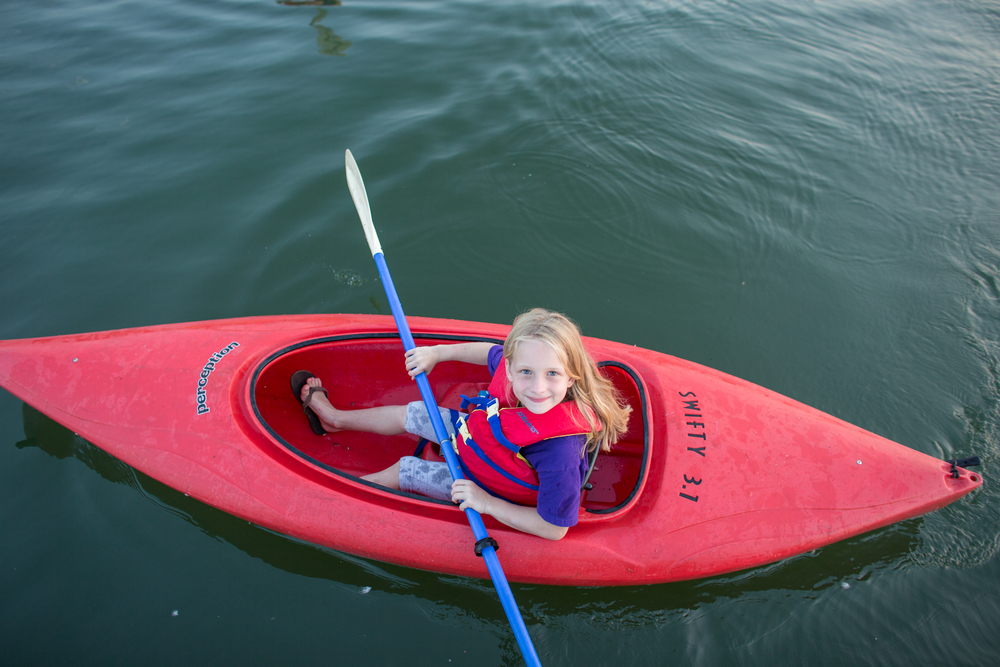 Caroline, age 8, pioneering the Great Lakes in her Kayak!