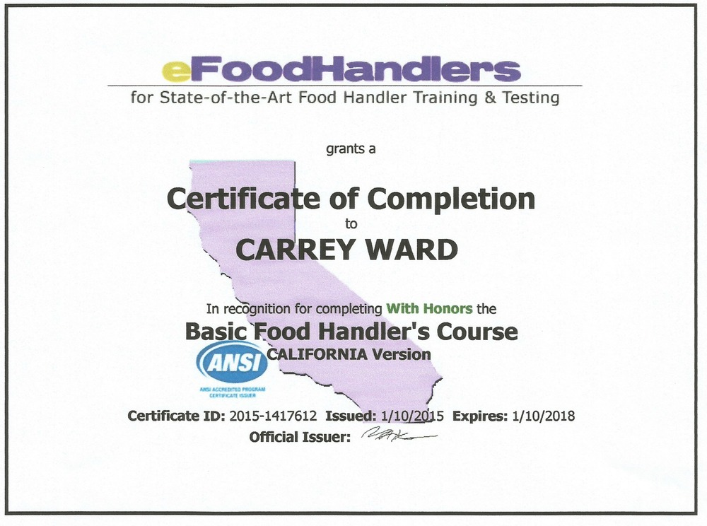 California Food Handlers Certification Food