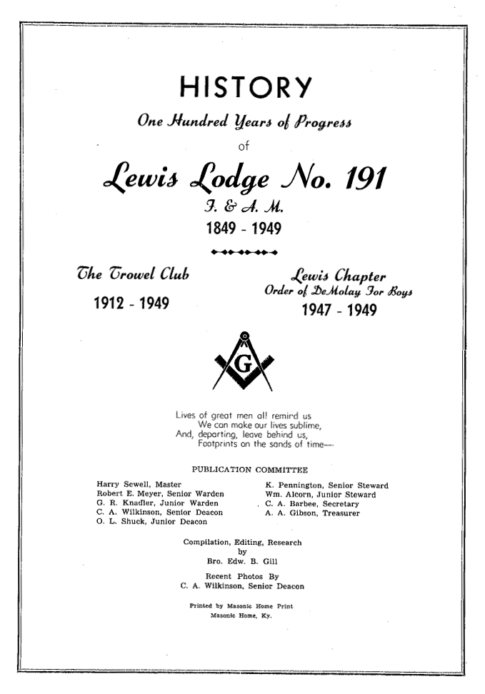 Lewis Lodge #191 1849-1949 - 1st 100 Years.png